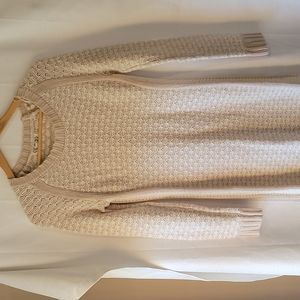 Pink Rose oatmeal colored long sleeve sweater dress size large